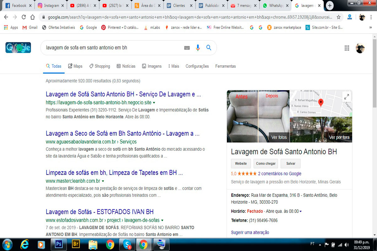 Lavagem de Sofá Santo Antonio BH